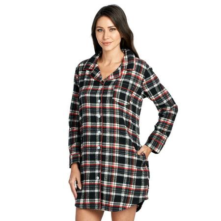 Ashford & Brooks Women's Flannel Plaid Long Lounge Shirt Sleep Nightshirt - Black Ivory - -