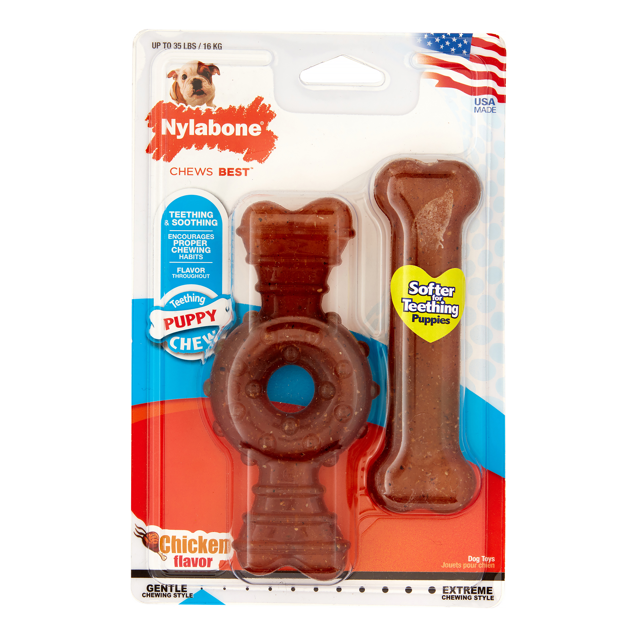 Nylabone Puppy Twin Pack Wolf Ring/Flexi Combo Puppy Chew Toy, Medium