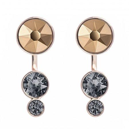Black Crystal Pierced Earrings SLAKE DOT Jackets Rose Gold #5241291