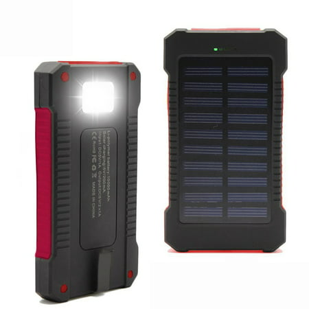 Phone Usb Backup (iMeshbean Solar Charger, 10000mAh Solar Power Bank with Dual USB, External Backup Battery Pack Solar Panel Cellphone Charger (Red) )