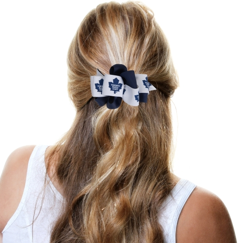 Toronto Maple Leafs Mary Loop Bow - Navy Blue/White - No Size