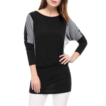 Suede Blouson - Women Color Block Batwing Sleeves Blouson Tunic Top