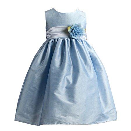 Crayon Kids Little Girls Blue Flower Sash Poly Silk Special Occasion Dress 2T-6](Crayon Dress)
