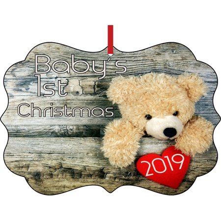 Baby's 1st Christmas Ornament 2019 Teddy Bear First Elegant Semigloss Aluminum Christmas Ornament Tree Decoration - Unique Modern Novelty Tree Décor Favors ()