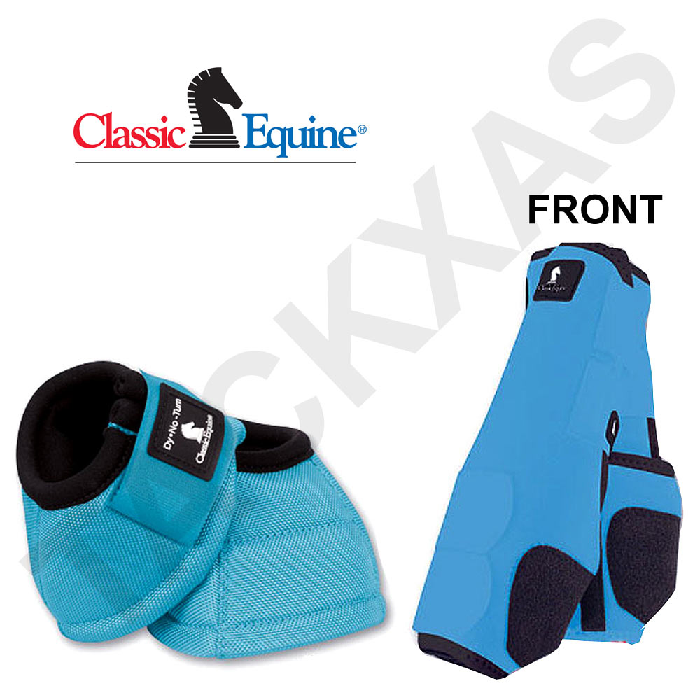 TURQUOISE CLASSIC EQUINE FRONT SPORTS + NO TURN BELL BOOTS LEGACY HORSE by CLASSIC EQUINE