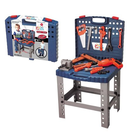 Good Gifts For 6 Year Old Boy (68 Piece Workbench W Realistic Tools & ELECTRIC DRILL for Construction Workshop Tool Bench, STEM Educational Pretend Play, Toolbox Birthday Gift toys for Boys & girls age 3, 4, 5,)