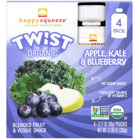 Happy Squeeze Twist Apple Kale & Blueberry pouch, 4pk