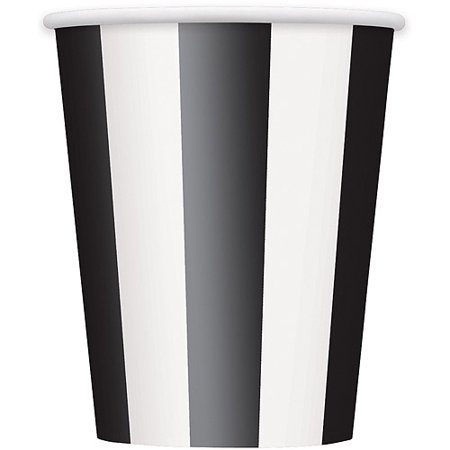 12oz Striped Paper Cups, Black, 6ct - 12oz In Cups