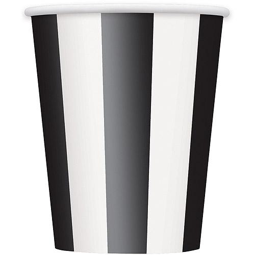 12oz Striped Paper Cups, Black, 6ct
