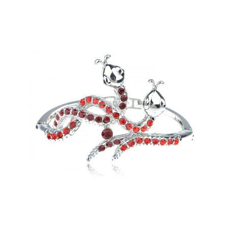 Silver Tone Metal Alloy Red Rhinestone Twin Serpents Snake Cuff Bracelet (Silver Tone Metal Cuff)