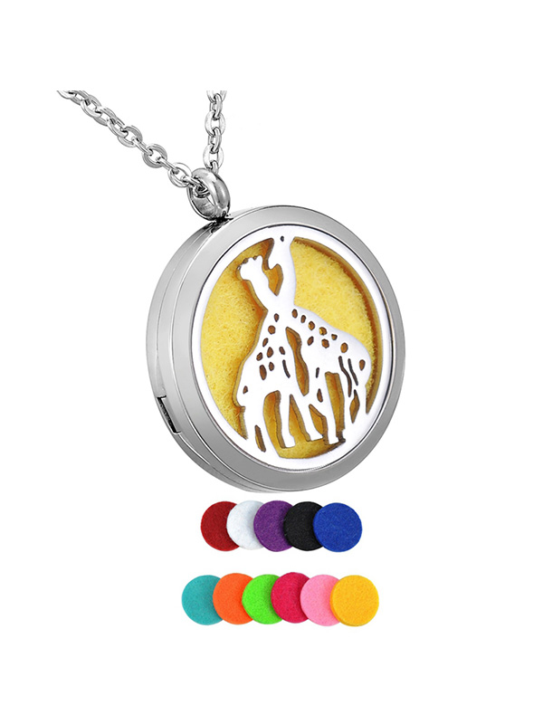 Round Double Giraffe Aromatherapy Perfume Essential Oil Diffuser Locket Necklace by Valyria