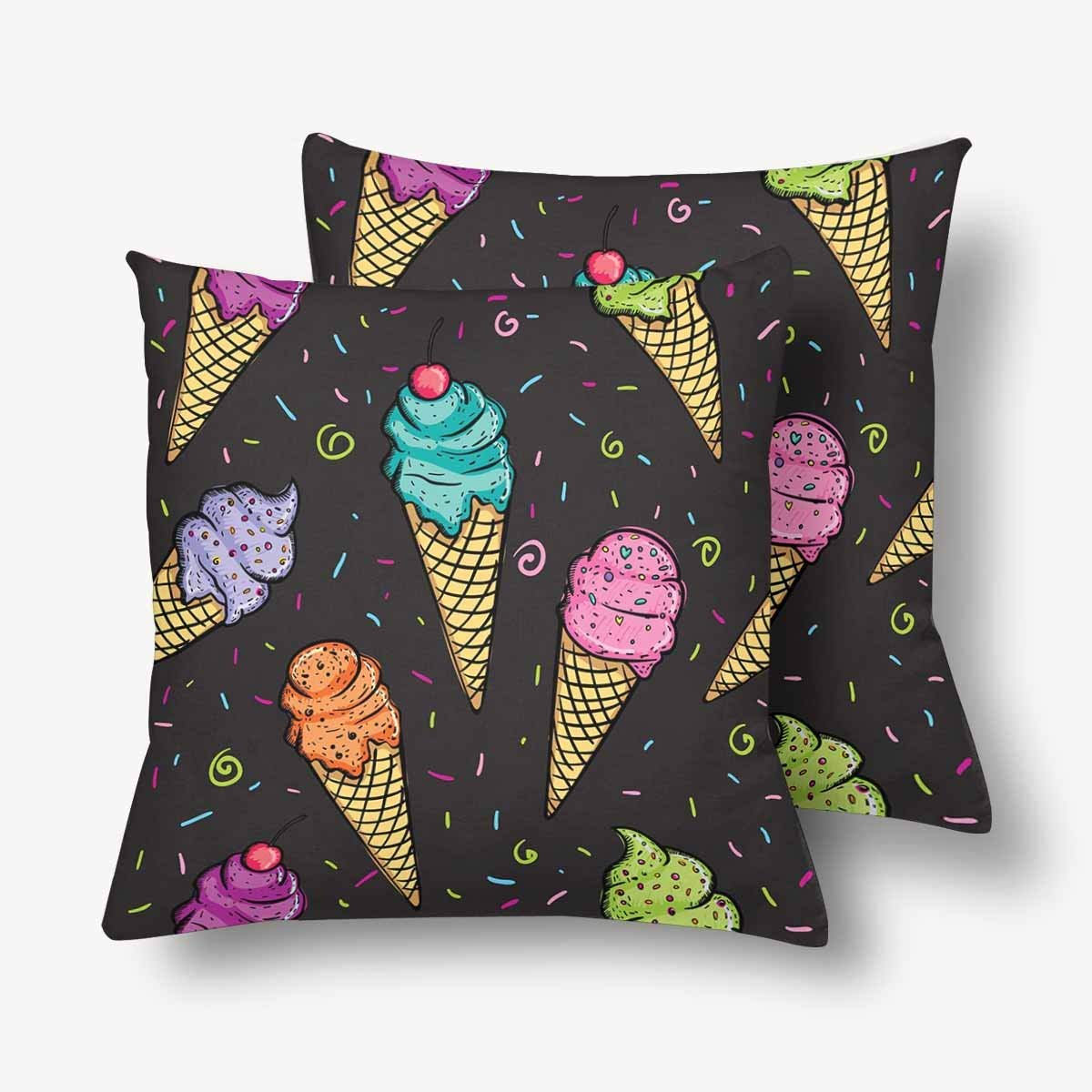 GCKG Abstract Seamless Pattern Colorful Ice Cream Throw Pillow Covers 18x18 inches Set of 2 - image 3 of 3