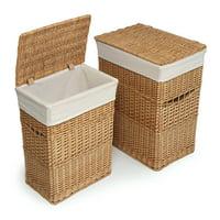 Badger Basket Wicker Two Hamper Set with Liners - Natural