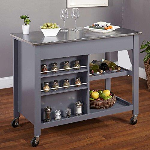 Modern Mobile Kitchen Island modern mobile kitchen island rolling gray wood cart stainless