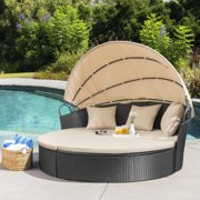Walnew Outdoor Patio Round Daybed with Retractable Canopy Wicker Furniture Sectional Seating with Washable Cushions for Patio Backyard Porch Pool Daybed Separated Seating (Beige)