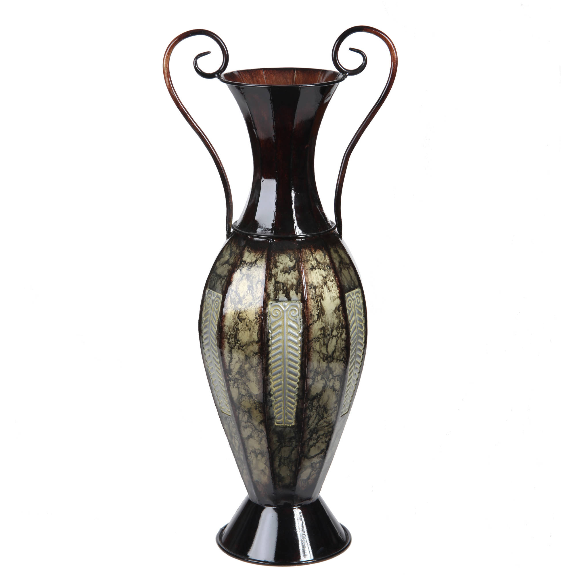 Elegant Expressions by Hosley 2-Tone Metal Vase with Handles, Black and Silver by Generic