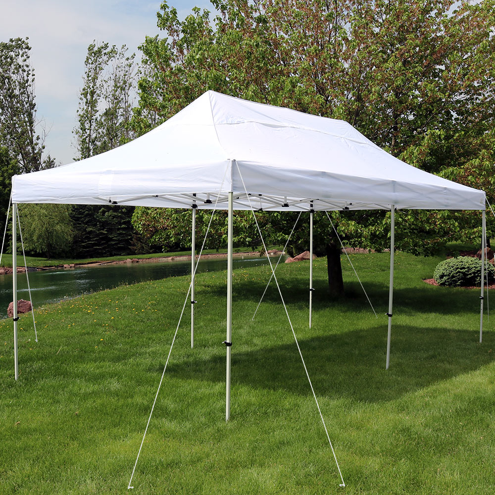 Click here to buy Sunnydaze Quick-Up Instant Pop-Up Canopy Party and Wedding Shelter, 10 x 20 Foot, White by Sunnydaze Decor.