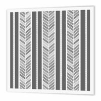 3dRose Grey herringbone pattern - gray tribal chevron arrow feather stripes, Iron On Heat Transfer, 10 by 10-inch, For White Material
