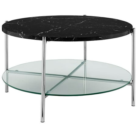 32 inch Round Coffee Table with Black Faux Marble and Chrome - Black Marble Coffee Tables
