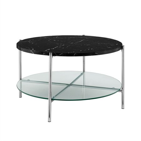 32 Inch Round Coffee Table With Black Faux Marble And Chrome Legs