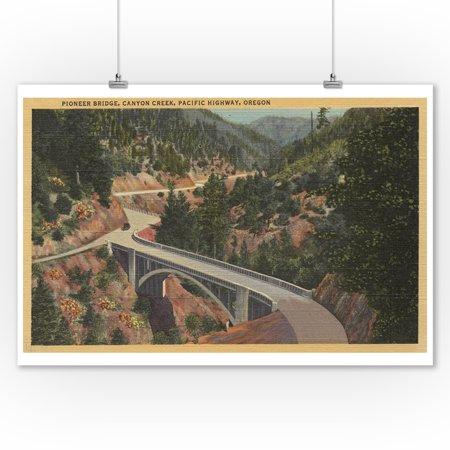 Southern Oregon - Pioneer Bridge, Canyon Creek, Pacific Highway (9x12 Art Print, Wall Decor Travel Poster)