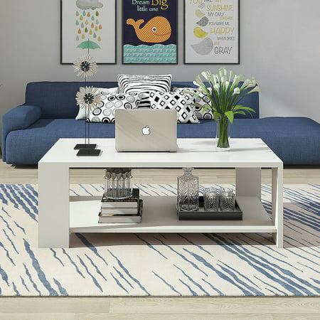 Zimtown Modern Rectangle Sofa Coffee Table End Living Room Furniture Shelf White