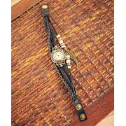 Leather Charm Bracelet Watches ( Black )
