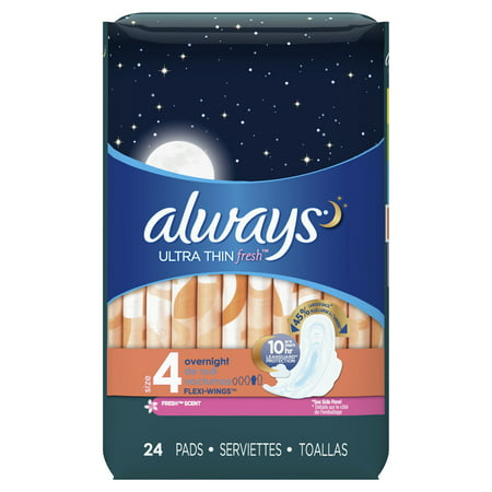 ALWAYS Ultra Thin Size 4 Overnight Pads With Wings Scented, 24