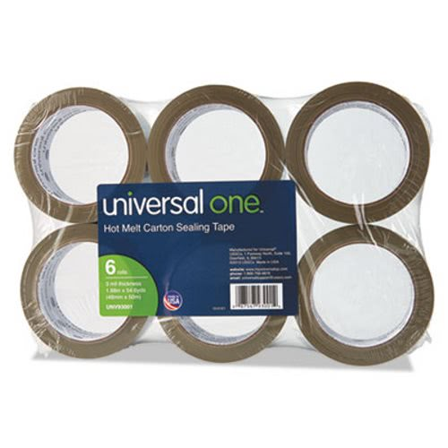 Heavy-Duty Box Sealing Tape, Hot Melt, 6 Rolls (UVS 93001)