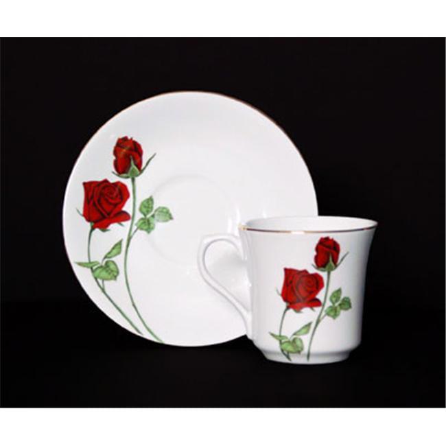 Euland China DSFL2-002RCS 8-Piece Cup And Saucer Set - Roses
