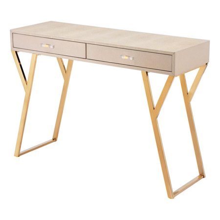 - Modern Contemporary Sofa Accent Side End Table Console, Cream, Faux Leather Stainless Steel