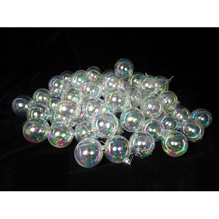 60ct Clear Iridescent Shatterproof Christmas Ball Ornaments 2.5