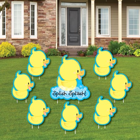 Ducky Duck - Yard Sign & Outdoor Lawn Decorations - Baby Shower or Birthday Party Yard Signs - Set of 8 - Signs Of Birthday