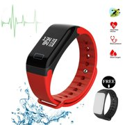 Fitness Tracker Fitness Watch Smart Bracelet with Heart Rate Moniter Blood Pressure Blood Oxygen Pdeometer Sleep Monitoring Calories Track for Daily Activity and Sleeping-Red