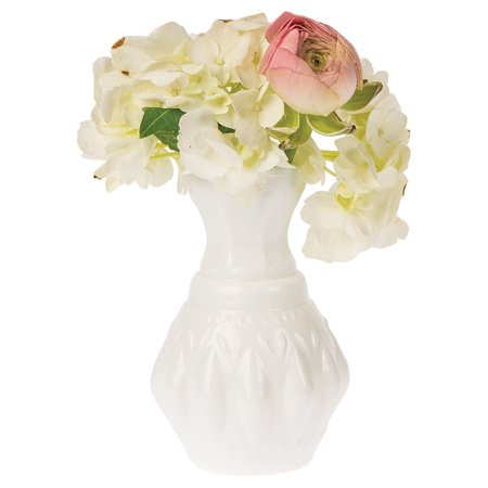 Vintage Milk Glass Vase (4-Inch, Bernadette Mini Ribbed Design, White) - Decorative Flower Vase - For Home Decor, Party Decorations, and Wedding (White Finish Ribbed Glass)