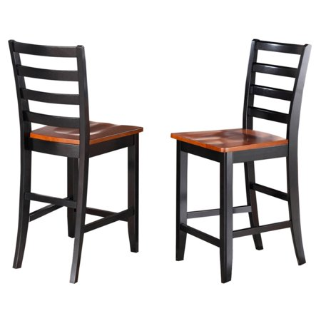 East West Furniture Fairwinds Ladder Back Counter Height Dining Chair With Wooden Seat   Set Of 2