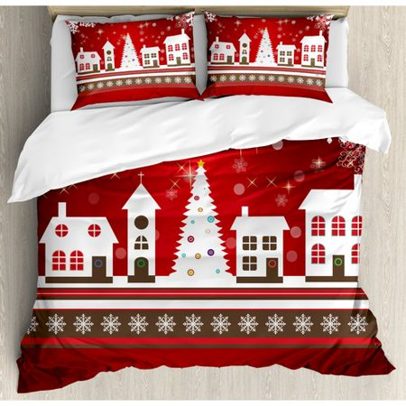 Ambesonne Christmas Winter Holidays Theme Gingerbread House Tree Lights and Snowflakes Art Duvet Cover Set ()