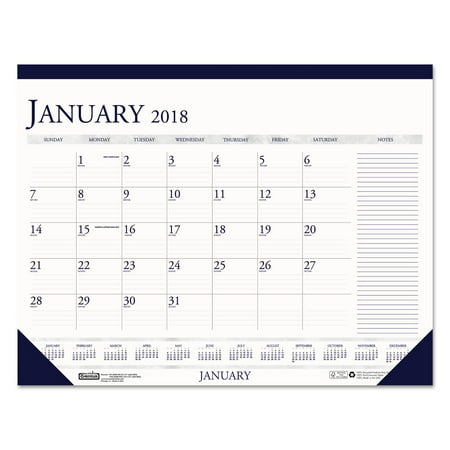 House of Doolittle Recycled Two-Color Monthly Desk Pad Calendar w/Large Notes Section, 22x17, 2018
