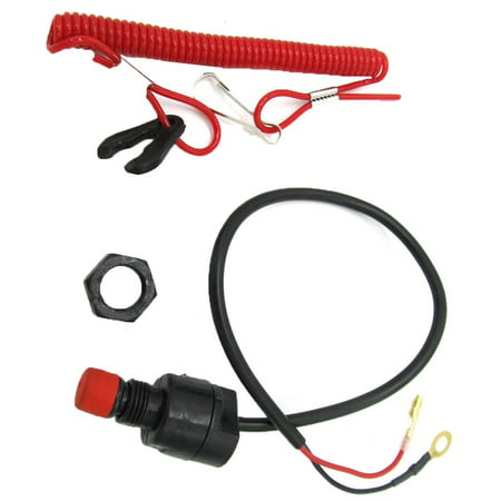 JOYFEEL General Boat Outboard Engine Motor Kill Stop Switch with Safety Tether Lanyard Set Kill Switch