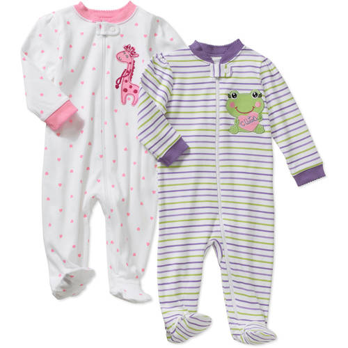 Garanimals Newborn Baby Girl Cotton Sleep n' Play, 2-Pack