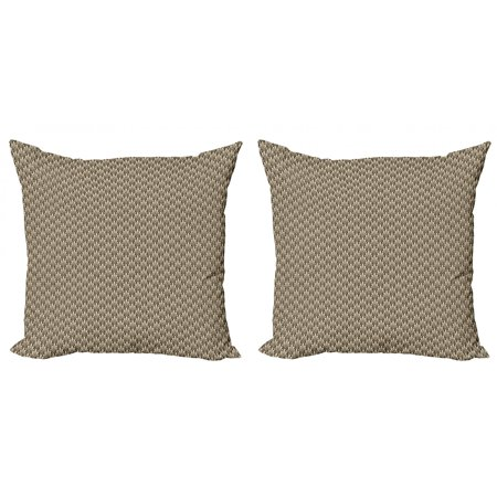 Abstract Throw Pillow Cushion Cover Pack of 2, Vintage Symmetric Pattern of Pointy Sharp Art Deco Inspired Details, Zippered Double-Side Digital Print, 4 Sizes, Beige and Dark Brown, by Ambesonne