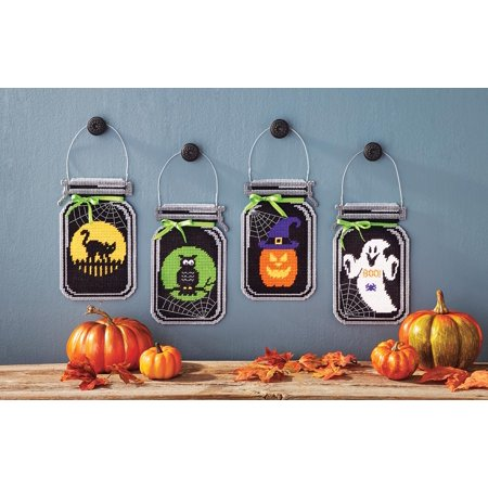 Mary Maxim Spooky Halloween Mason Jar Plastic Canvas Kit - Halloween Craft Jars
