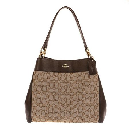 BRAND NEW WOMEN'S COACH (F27579) OUTLINE SIGNATURE LEXY LEATHER SHOULDER HANDBAG (Khaki