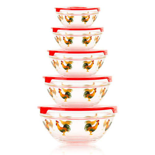 Imperial Home 10-Piece Stackable Rooster Design Glass Storage Bowl Set