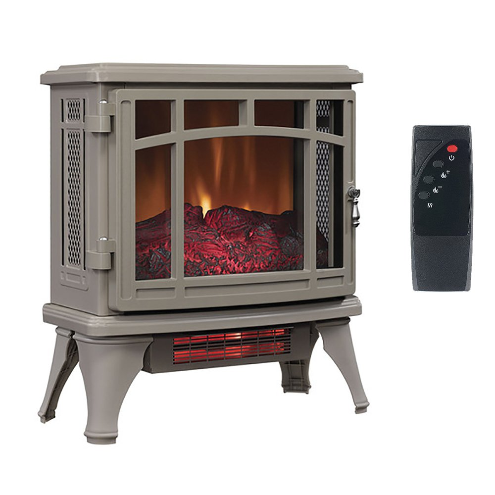 stove heater. duraflame infrared quartz stove heater with flame effect, french gray   8511