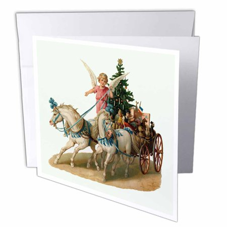 3dRose Cartoon Angel in Horse Drawn Carriage with Christmas Tree and Gifts, Greeting Cards, 6 x 6 inches, set of 6 ()