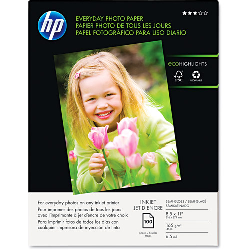 HP Q2509A Everyday Photo Paper, Glossy (100 sheets, 8.5 x 11-inch)