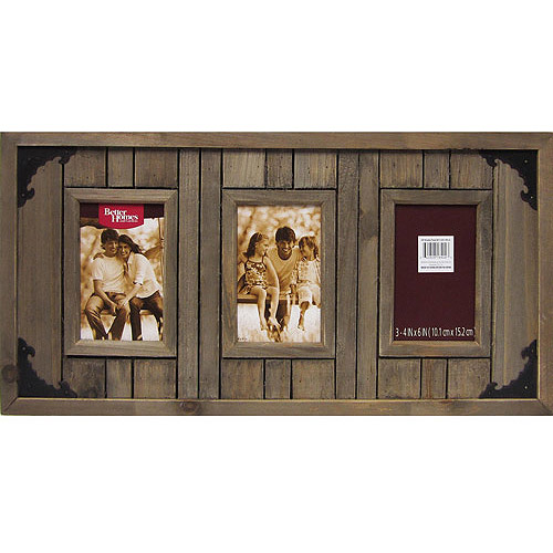Better Homes and Gardens 3 Opening Picture Driftwood Plank Collage Frame, Brown