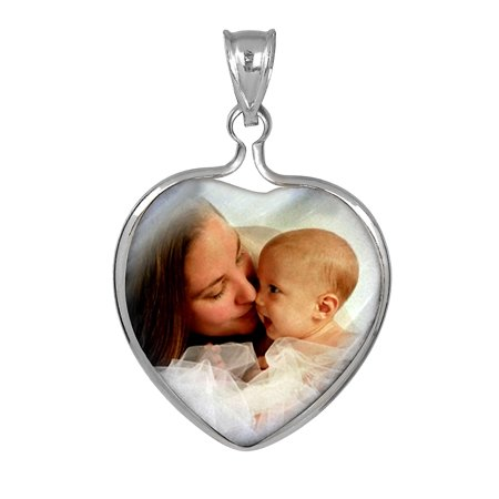 Personalized Sterling Silver, Gold Plated or 10k Heart Frame Mother of Pearl Color Photo Charm