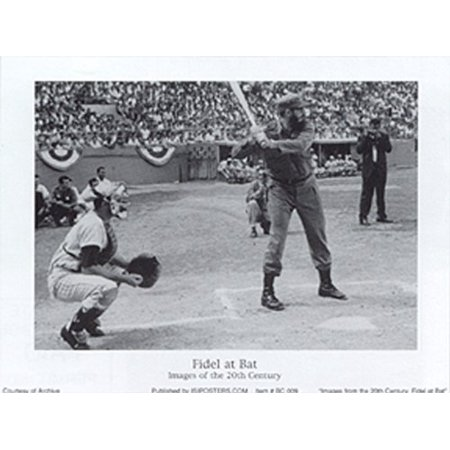 Fidel At Bat 5X7 Poster  Castro Cuba Baseball Sports Nostalgia Dictator